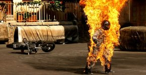 Stunt man on fire