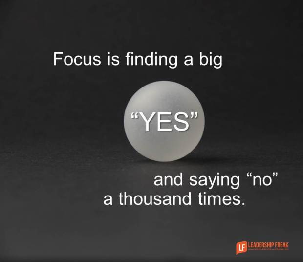 focus on finding a big yes