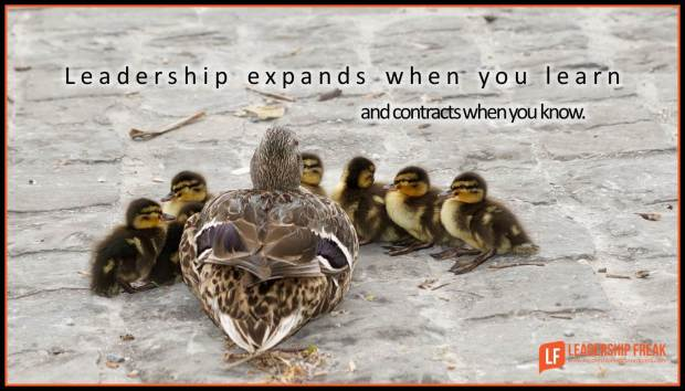 leadership expands when you learn and contracts when you know