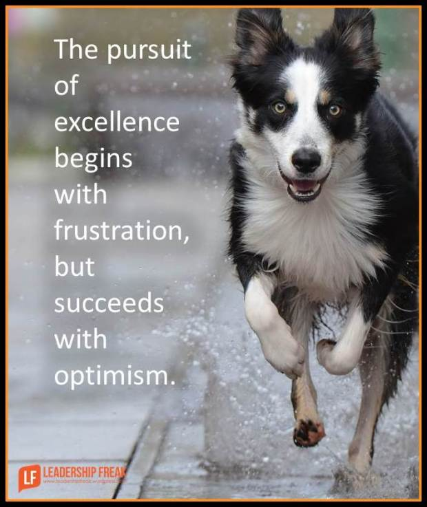 the pursuit of excellence begins with frustration but succeeds with optimism