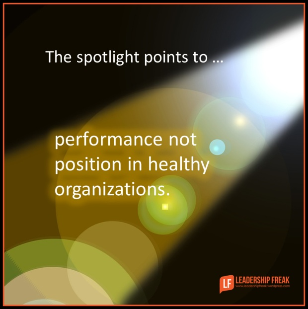 the spotlight points to performance not position in healthy organizations.png