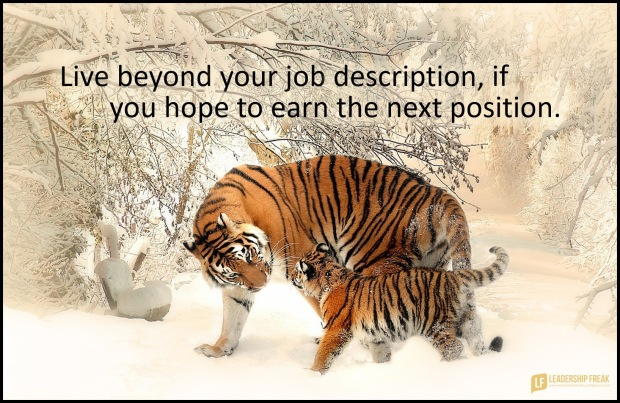 live beyond your job description if you hope to earn the next position.1