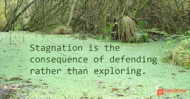 stagnation is the consequence of defending rather than exploring