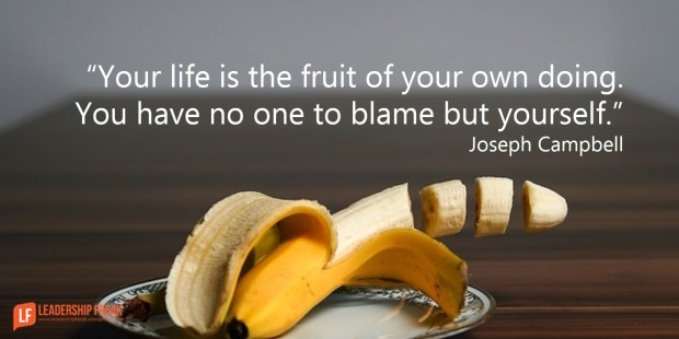 your life is the fruit of your own doing you have no one to blame but yourself