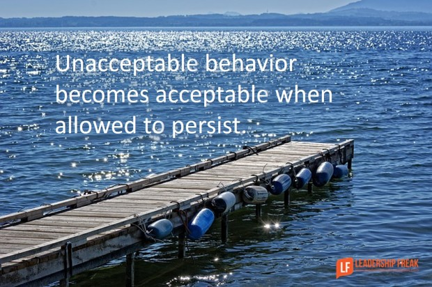 unacceptable behavior becomes acceptable when allowed to persist