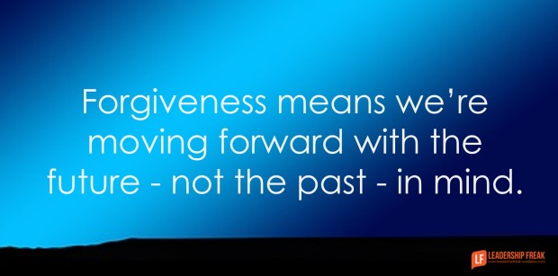 Forgiveness means we're moving forward with the future - not the past - in mind