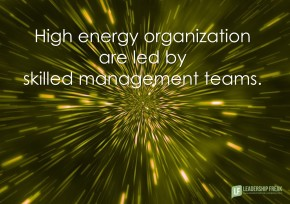 high energy organizations are led by skilled managerment teams