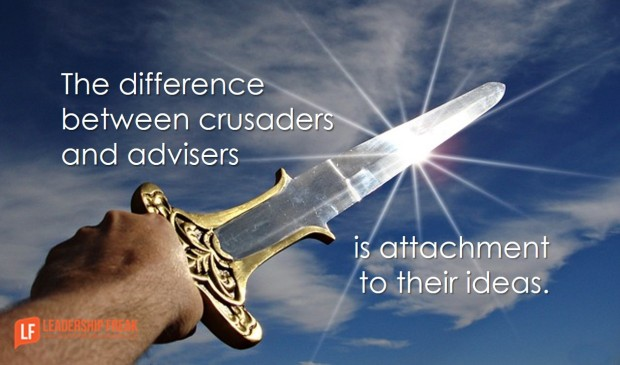 the difference between crusaders and advisers is attachment to their ideas