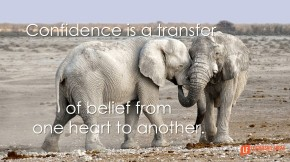confidence is a transfer of belief from one heart to another