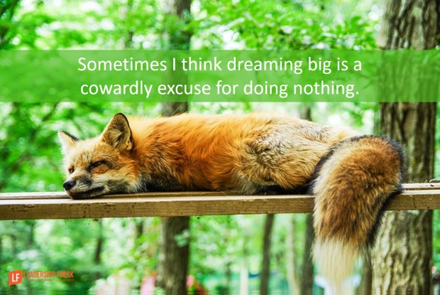 sometimes I think dreaming big is a cowardly excuse for doing nothing - fox