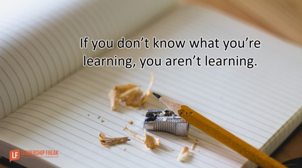 if you don't know what you're learning you aren't learning