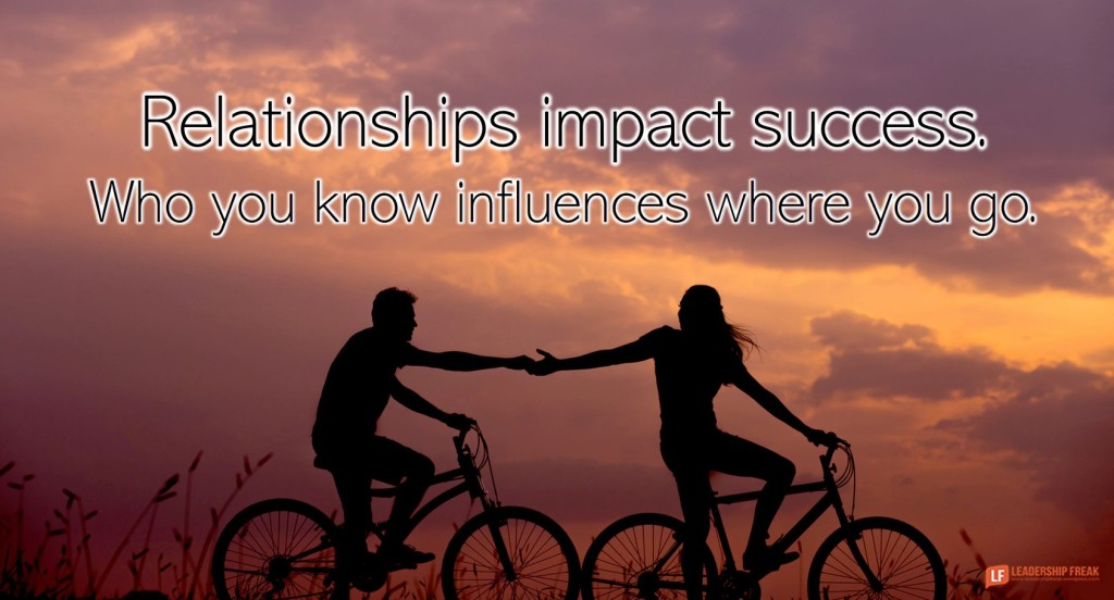 Two people on bikes.  Relationships impact success. Who you know influences where you go.