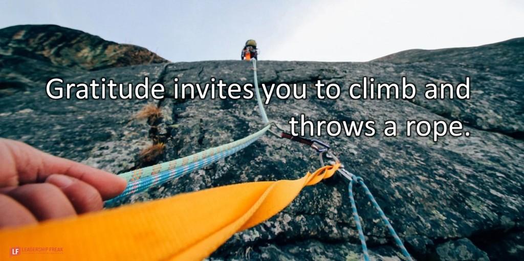 Rock Climbing.  Gratitude invites you to climb and throws a rope.