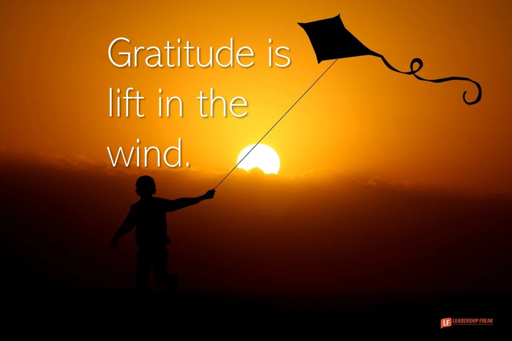 Flying a kite.  Gratitude is lift in the wind.