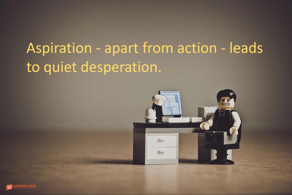Lego office worker.  Aspiration - apart from action - leads to quiet desperation.