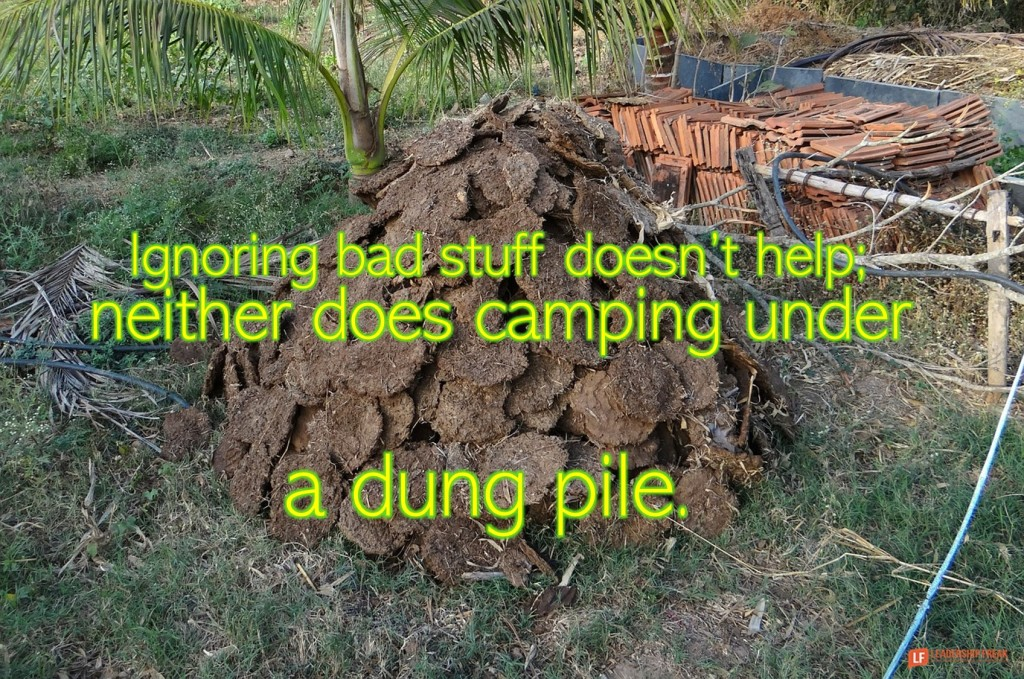 Dung pile.  Ignoring bad stuff doesn't help; neither does camping under a dung pile.