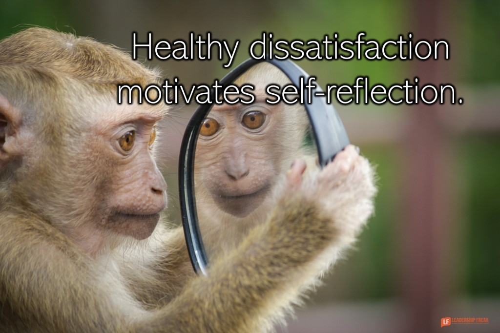 Monkey looking in a mirror.  Healthy dissatisfaction motivates self-reflection.