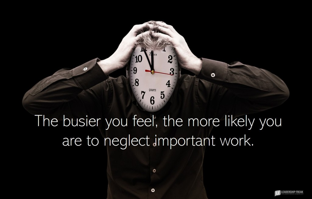 Time pressure.  The busier you feel, the more likely you are to neglect important work.