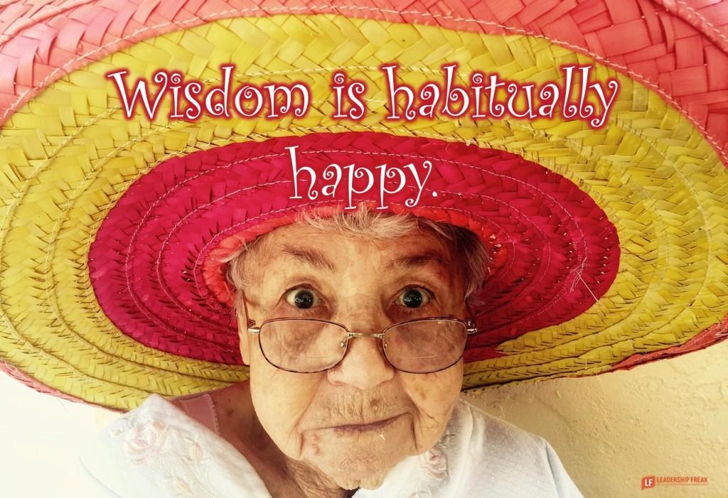 Happy old woman.  Wisdom is habitually happy.