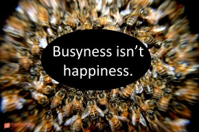 """Picture of bees climbing on each other. """"Busyness isn't happiness."""""""