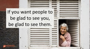 """Elderly lady looking out a window. If you want people to be glad to see you, be glad to see them with a big smile. Quote """"If you want people to be glad to see you, be glad to see them."""""""