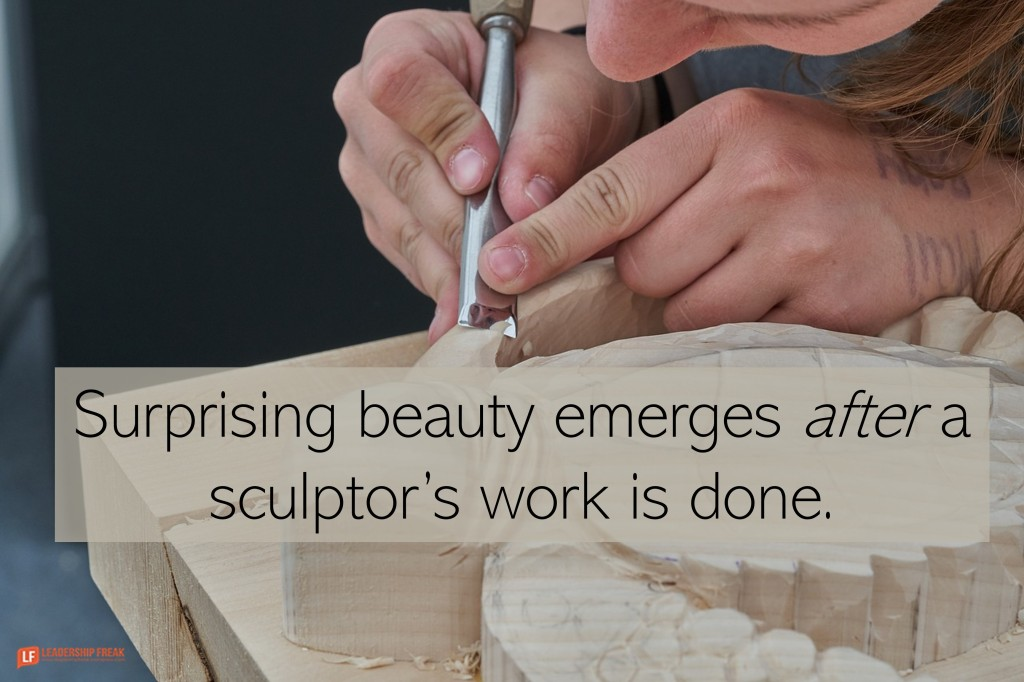 Wood carver/sculptor  Surprising beauty emerges after a sculptor's work is done.