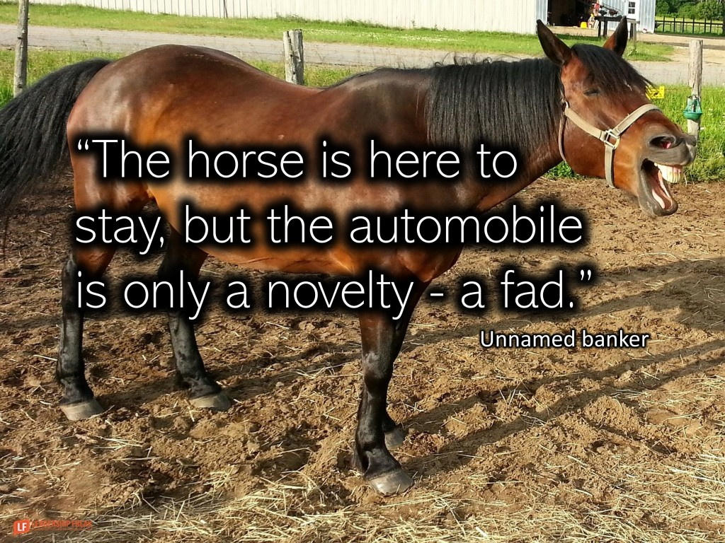 """Image of a laughing horse. """"The horse is here to stay, but the automobile is only a novelty - a fad."""""""