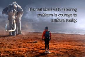 Image of a man facing an elephant.