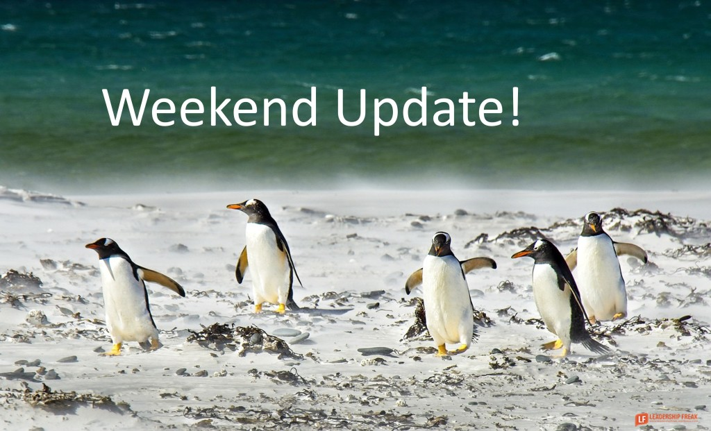 Penguins on the beach.  Weekend Update!