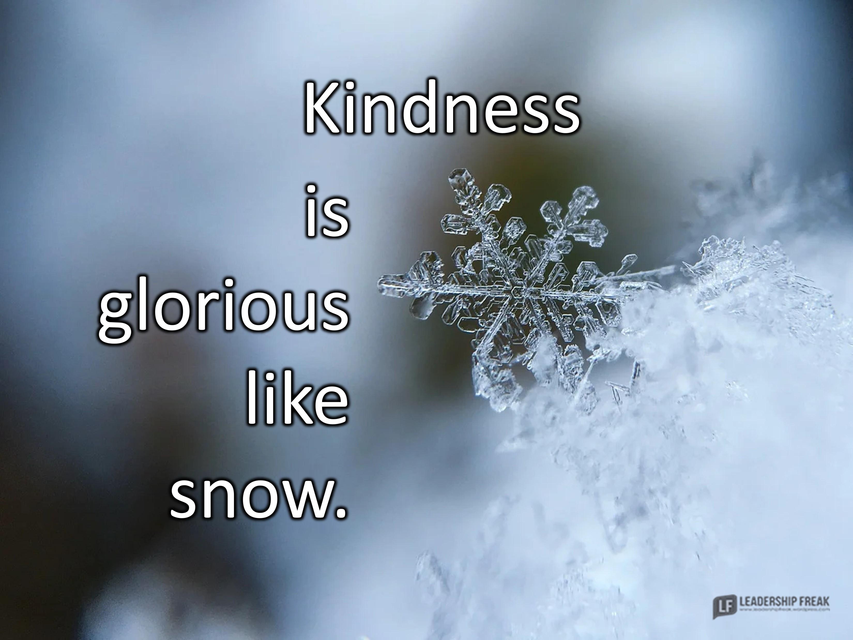 Closeup of a snowflake.   Kindness is glorious like snow.