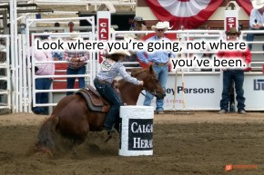 Image of a barrel racer at the Calgary roadeo.